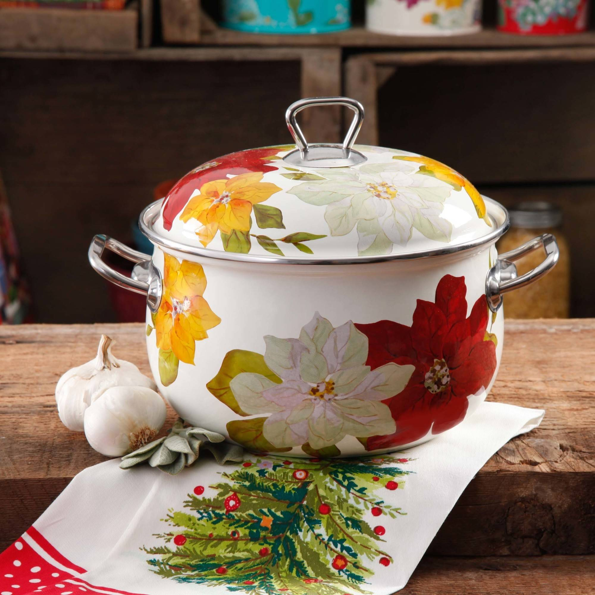 The Pioneer Woman Poinsettia 4 qt Dutch Oven