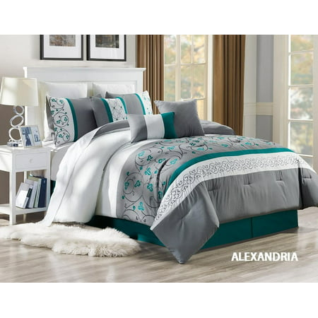 Unique Home 7 Piece Alexandria Ruffled Bed In A Bag Clearance bedding Comforter Duvet Set Fade Resistant, Super Soft, Size:King Color:Grey/Turquoise/White