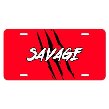 Savage Motor Plate - Savage Claw Mark Red and Black Novelty Metal Vanity Tag License Plate
