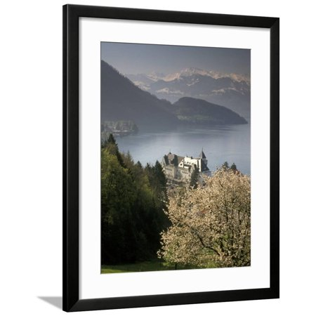Lucerne Large Wall (Large hotel with mountain in background, Lake Lucerne, Switzerland Framed Print Wall Art By Alan)