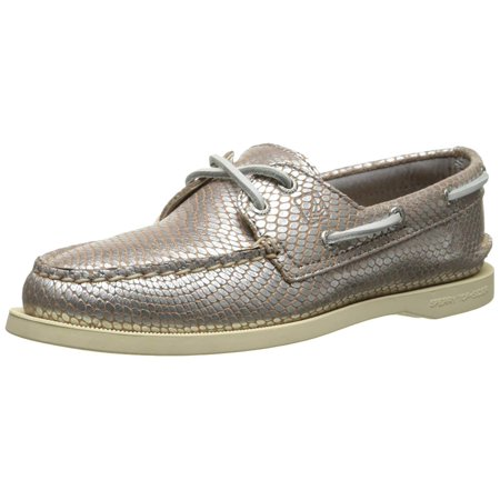 Sperry Top-Sider Women's A/O 2-Eye Python Boat Shoe, Silver, Size