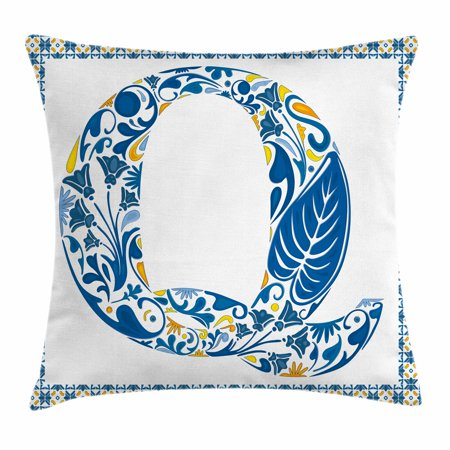 Letter Q Throw Pillow Cushion Cover  Spring Inspired Tropical Nature Foliage Themed Font Design Q And Framework  Decorative Square Accent Pillow Case  24 X 24 Inches  Blue Yellow Orange  By Ambesonne