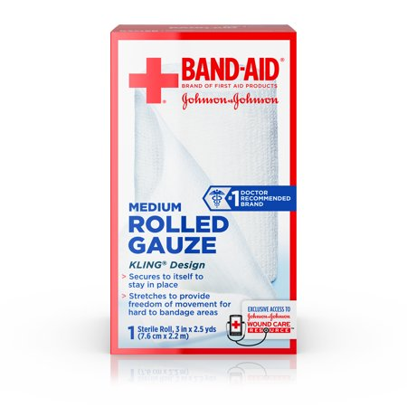 Band Aid Brand First Aid Product Secure Gauze Roll, 3 in x 2.5 yd