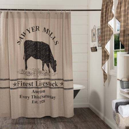 Khaki Tan Farmhouse Bath Miller Farm Charcoal Cow Rod Pocket Cotton Button Holes for Shower Hooks Stenciled Chambray Nature Print Shower (Texas A&m Shower Curtain)