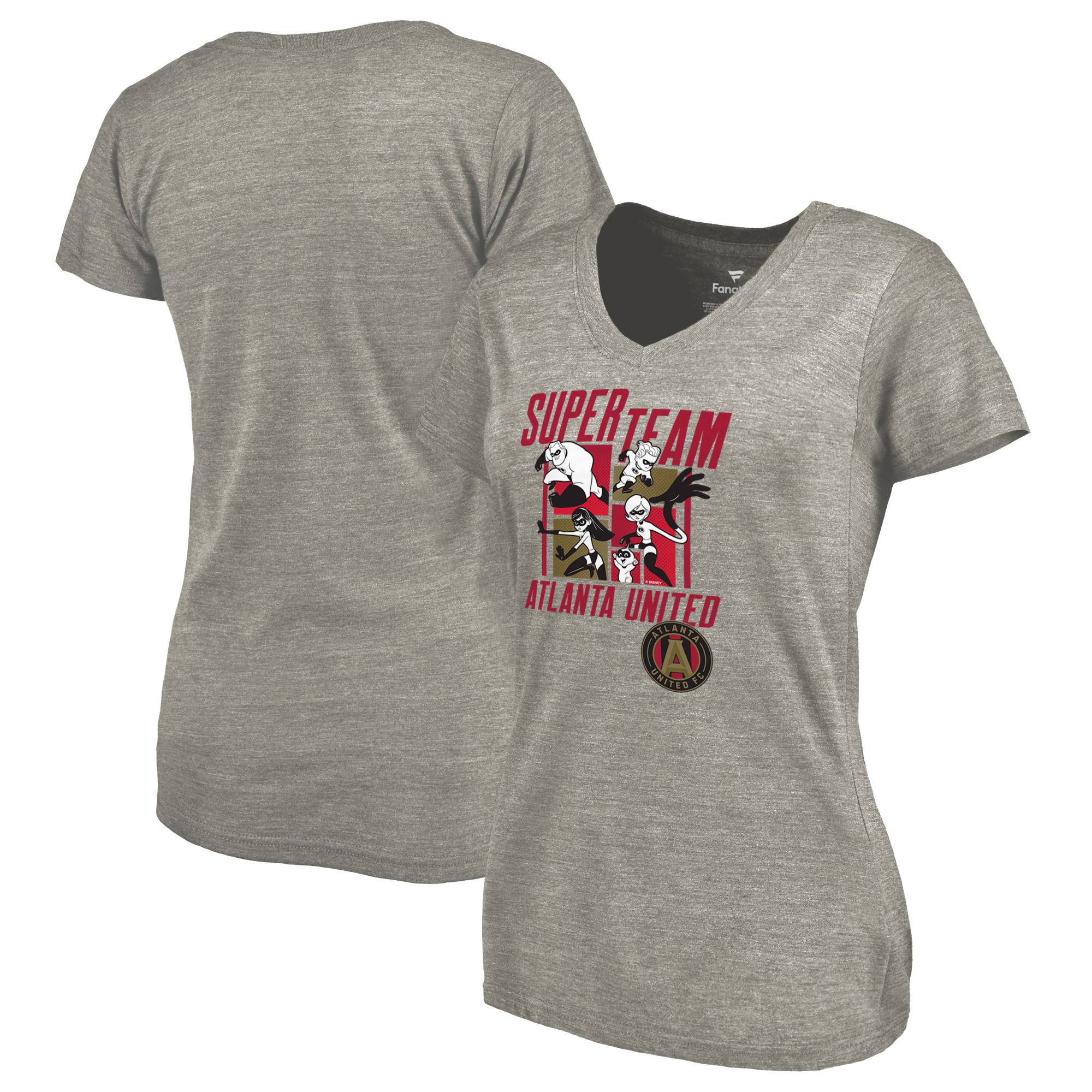 Atlanta United FC Fanatics Branded Women's Disney Pixar The Incredibles Super Team Tri-Blend V-Neck T-Shirt - Heathered Gray