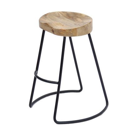 Classy Wooden Barstool with Iron Legs (Long) ()