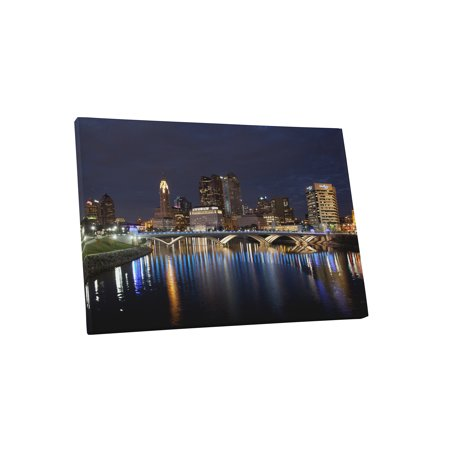 Columbus Ohio Downtown Night Skyline Gallery Wrapped Canvas Wall Art Print 20