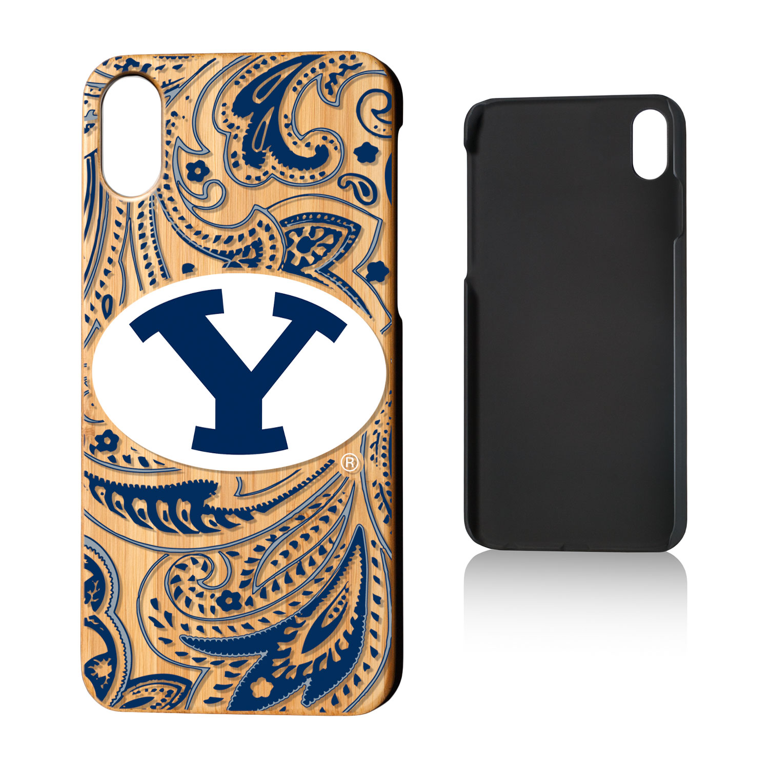 BYU Brigham Young Cougars Paisley Bamboo Case for iPhone X
