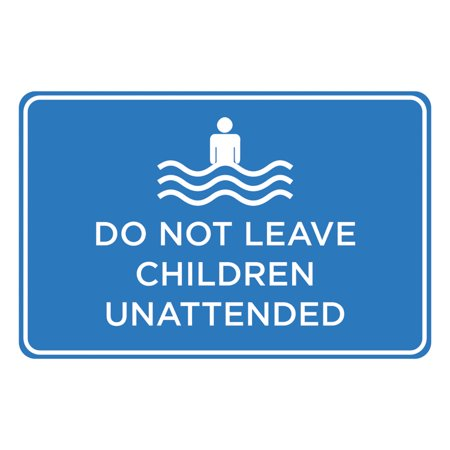 Do Not Leave Children Unattended Blue White Print Horizontal Poster  Swimming Pool Area Rules Outdoor Notice Sign