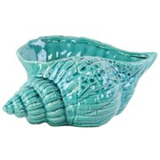 Ceramic Conch Seashell Sculpture in Gloss Turquoise