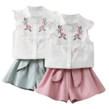 2019 summer Korean baby girls clothing set children heart shirt+bow shorts suit 2pcs kids floral bow clothes set (Black Korean Girl)
