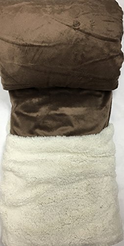 Queen Blanket Super Soft Plush Faux Fur Taupe Brown Sherpa Blankets   Reversible Winter... by AHF