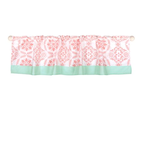 The Peanut Shell Window Valance - Coral Pink Floral Medallion Print - 100% Cotton Sateen, 53 Inches Wide, 14 Inch Drop