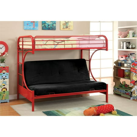 Furniture of america capelli metal loft bed in red for Furniture n more beds