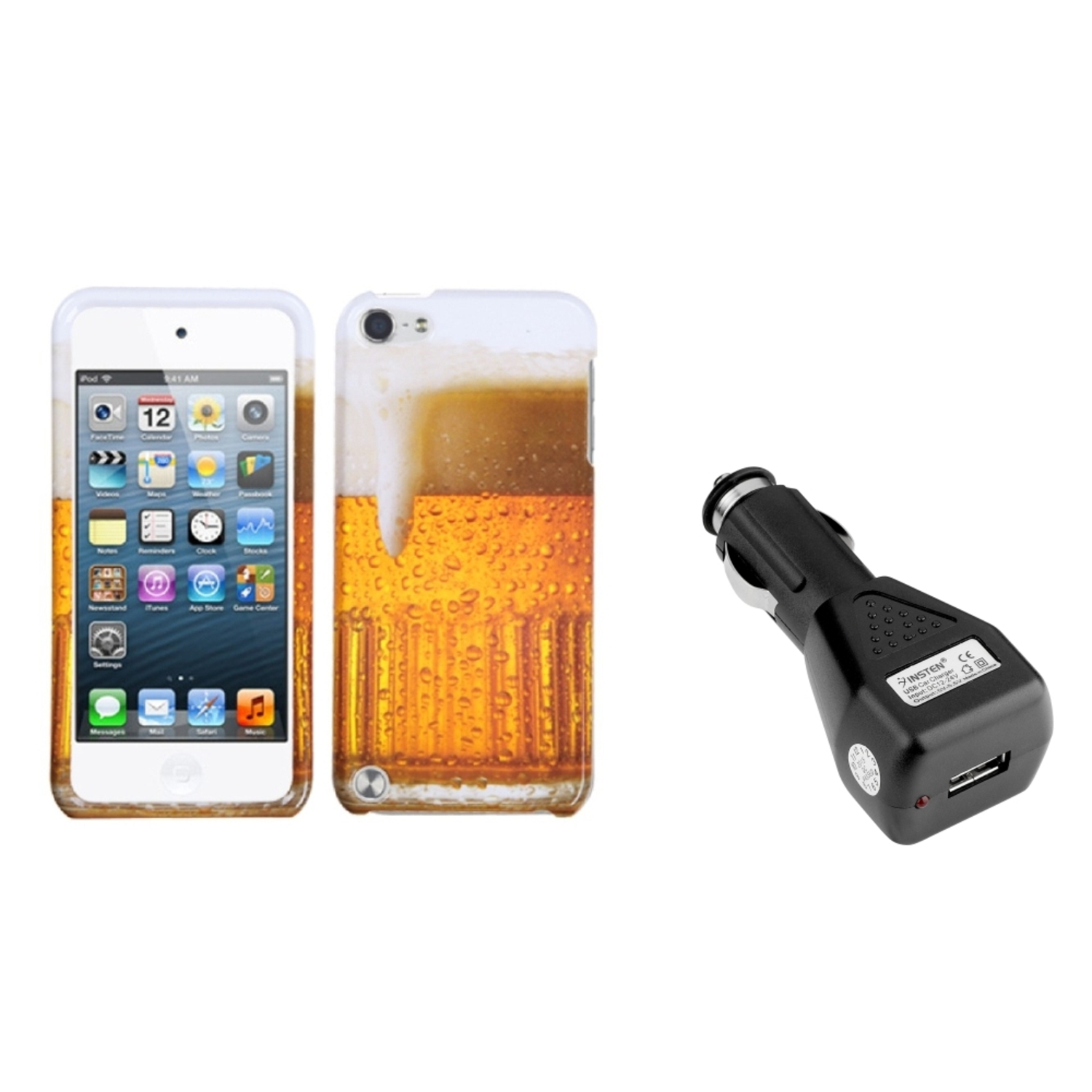 Insten Beer Food Fight Collection Phone Case For iPod Touch 6 6G / 5 5G + USB Car Charger Adapter