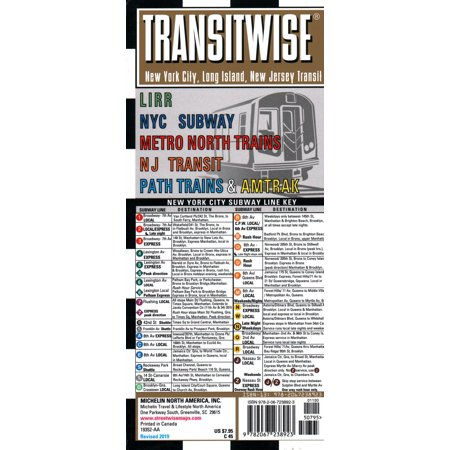 Transitwise New York, New Jersey Metro Transit Map: Lirr NYC Subway Metro  North Trains NJ Transit Path Trains & Amtrak (Other)