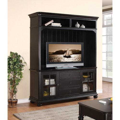 Riverside Summit 72 in. TV Console with Hutch - Pepper Black
