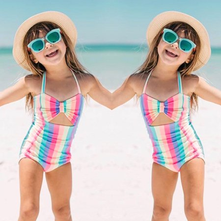 2019 hotsales Toddler Baby Kids Girls Stripe Rainbow Swimwear Swimsuit Beach Romper