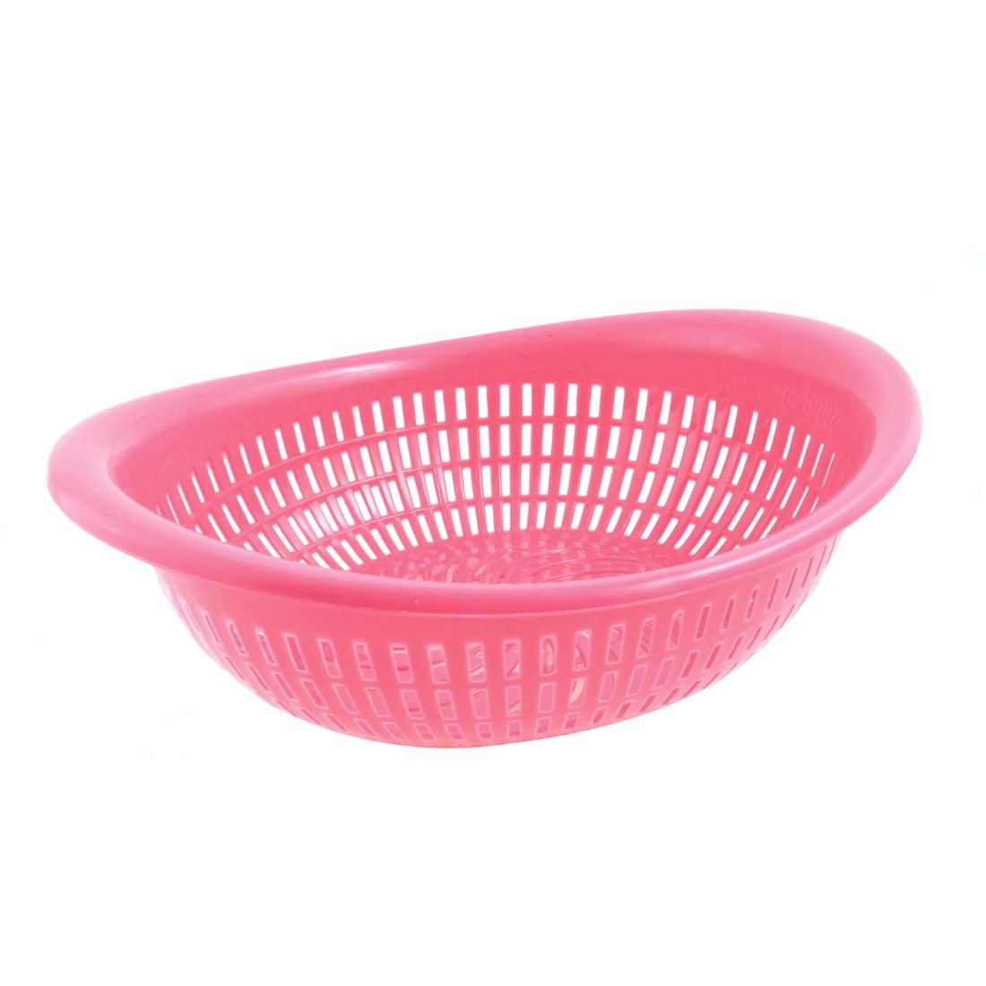 Unique Bargains Magenta Plastic Fruit Vegetables Storage Oval Holder Basket
