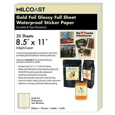 Milcoast Gold Foil Glossy Full Sheet 8.5