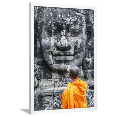 Acetate Temples Frame - Cambodia, Siem Reap, Angkor Wat Complex. Monks Inside Bayon Temple (Mr) Framed Print Wall Art By Matteo Colombo
