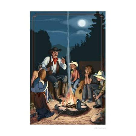 Cowboy Campfire Story Telling Print Wall Art By Lantern Press