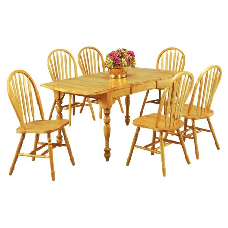 Sunset Trading 7-Piece Drop Leaf Extension Dining Set with Arrowback Chairs