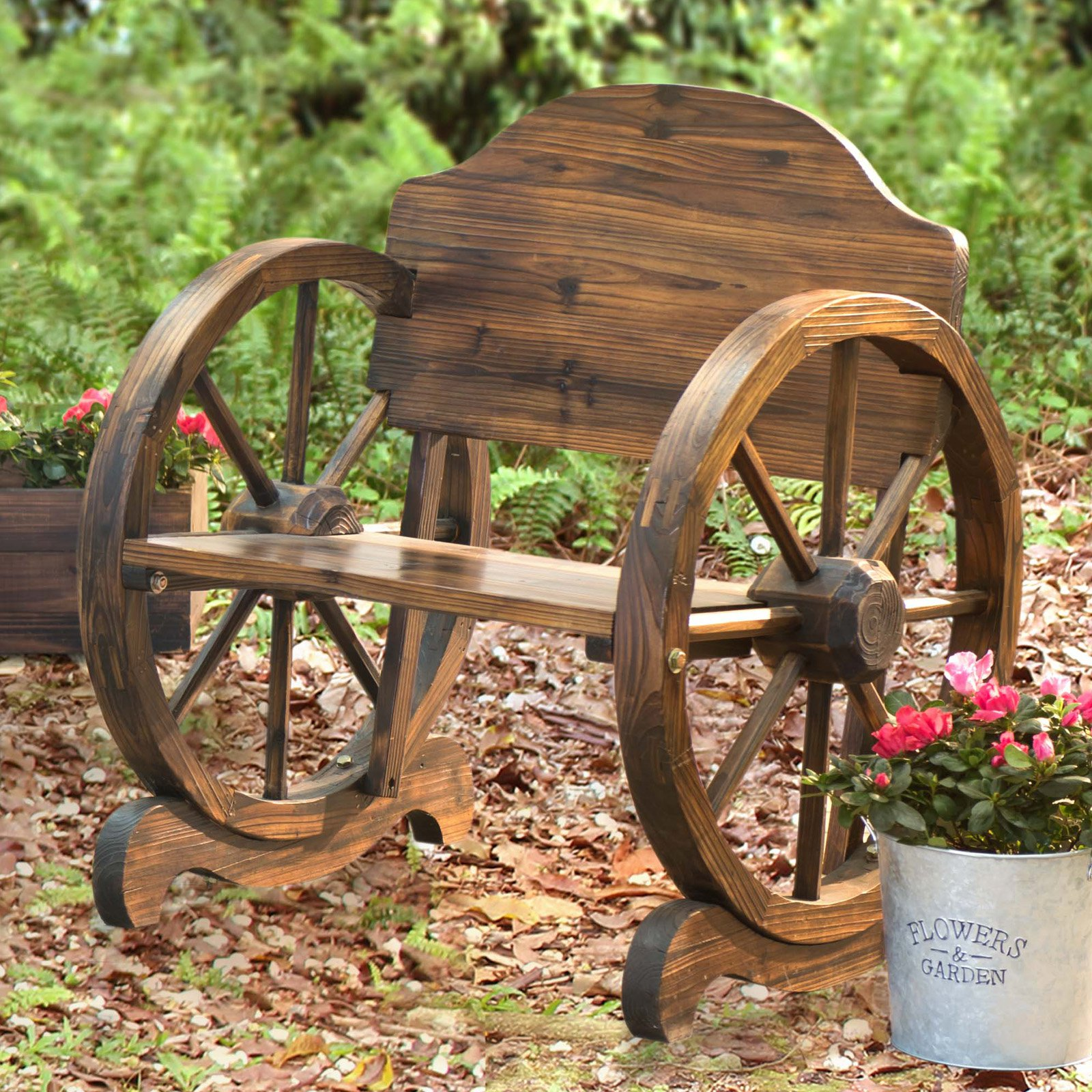 "Sunjoy 110207003 Rustic Wood Chair 23"" x 28"" x 30"" with Wagon Wheel Detail"