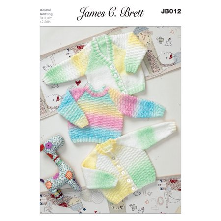 Pattern for Sweater and Cardigans in James C. Brett Baby Marble DK