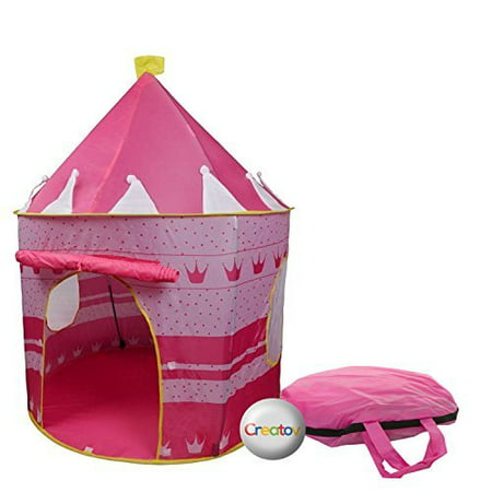 Children Play Tent Girls Pink Castle for Indoor/Outdoor Use With Glow in the Dark Stars Foldable with Carry Case - Creatov - image 2 of 5