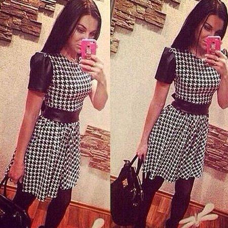 Women Short Sleeve Houndstooth Pattern Bandage Bodycon Mini Dress - Houndstooth Mini Dress