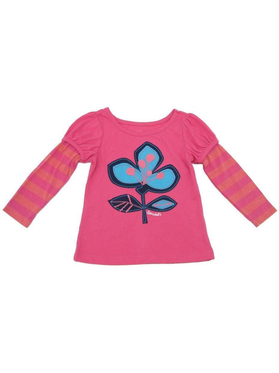 Sprockets Little Girls Pink Floral Print Layered Sleeves T-Shirt 4-6X