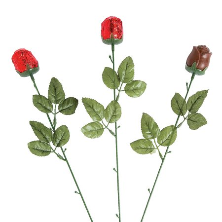 Fun Express - Red Foil Wrapped Chocolate Roses for Valentine's Day - Edibles - Chocolate - Non Branded Chocolate - Valentine's Day - 12 Pieces Foil Chocolate Wrappers