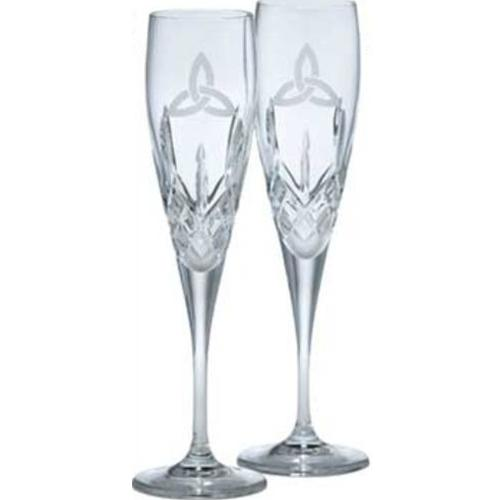 Galway Trinity Knot Stemware Crystal Large Flute Pair