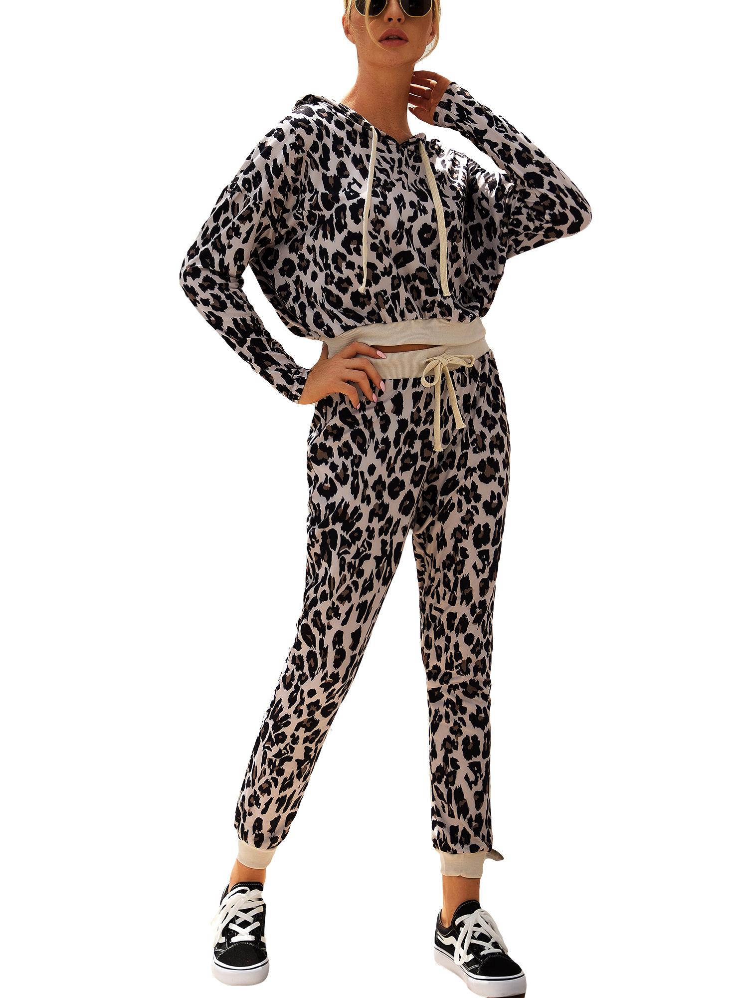 New Plus Size Ladies Animal Leopard Print Two Piece Tracksuit Lounge Set