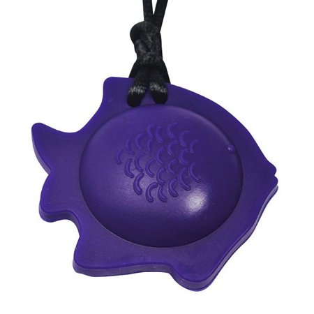 Chubuddy Fish Chewy Pendant With Breakaway Clasp Necklace- Eggplant Color