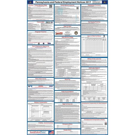 2017 Pennsylvania State And Federal Labor Law Poster  Laminated