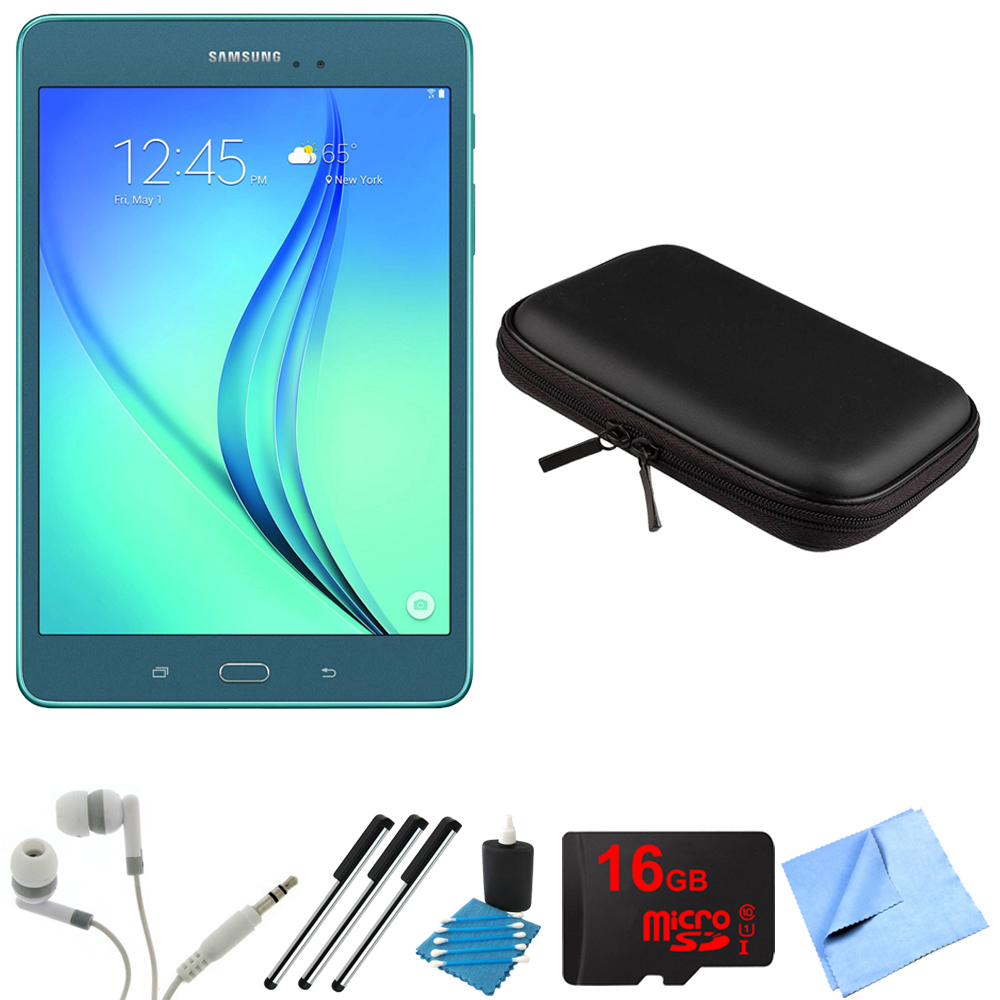 Samsung Galaxy Tab A 8-Inch Tablet (16 GB, Smoky Blue) 16GB Memory Card Bundle includes Tablet, 16GB Micro SD Memory Card, Headphones, Case, 3 Stylus Pens, Lens Cleaning Kit and Micro Fiber Cloth