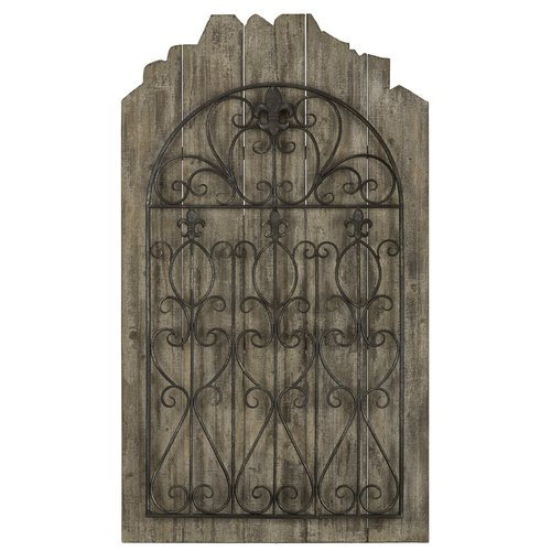 Cooper Classics Cumberland Wall Hanging, Weathered Brown Wood with Distressed Black Metal - 40503