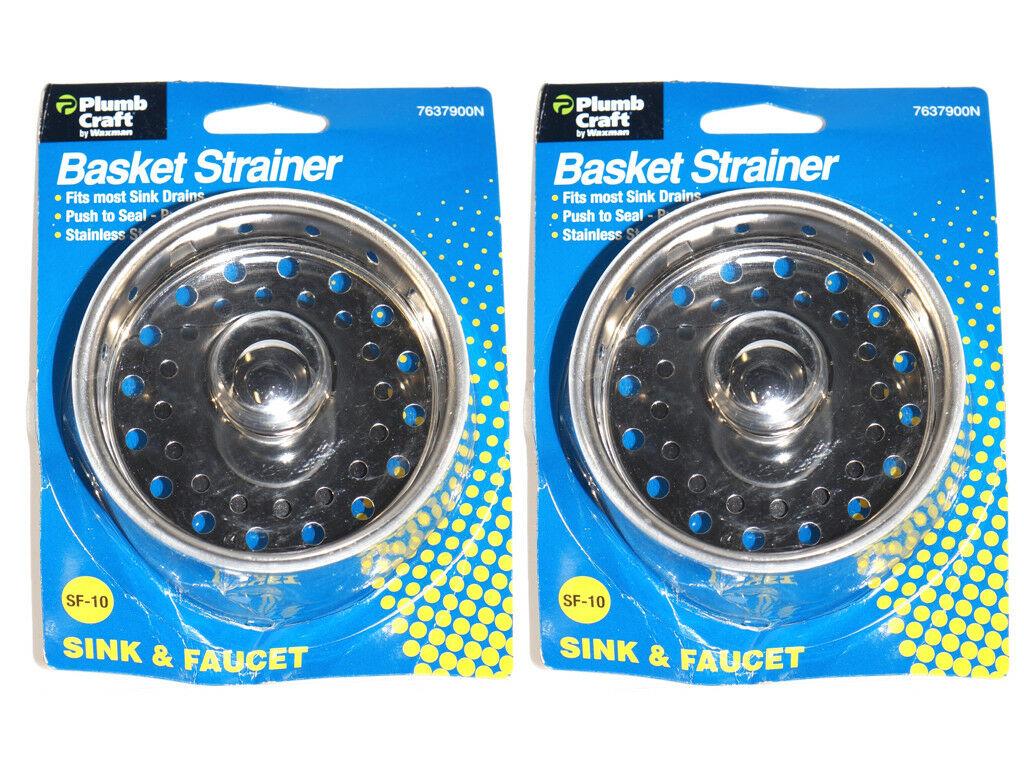 2 Pack Kitchen Sink Basket Strainer With Seal Plump Craft By Waxman 7637900n Walmart Com Walmart Com