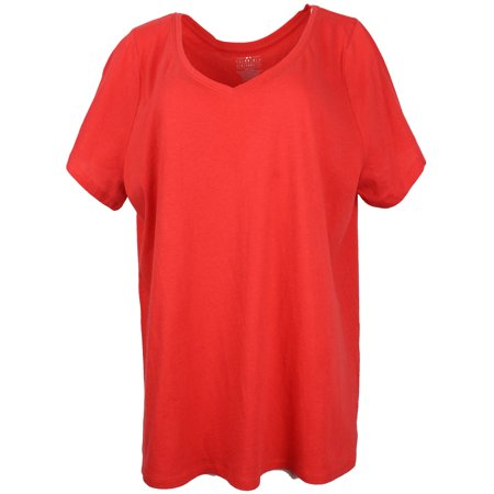 GM Women's Curvy Plus Size 100% Cotton V-Neck T-Shirt, Short Sleeve (18-20, Red)