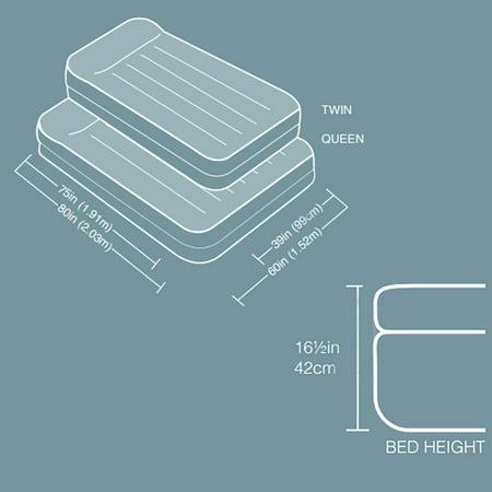 "Intex 16.5"" Twin Dura-Beam Pillow Rest Raised Airbed with Built-In Electric Pump"