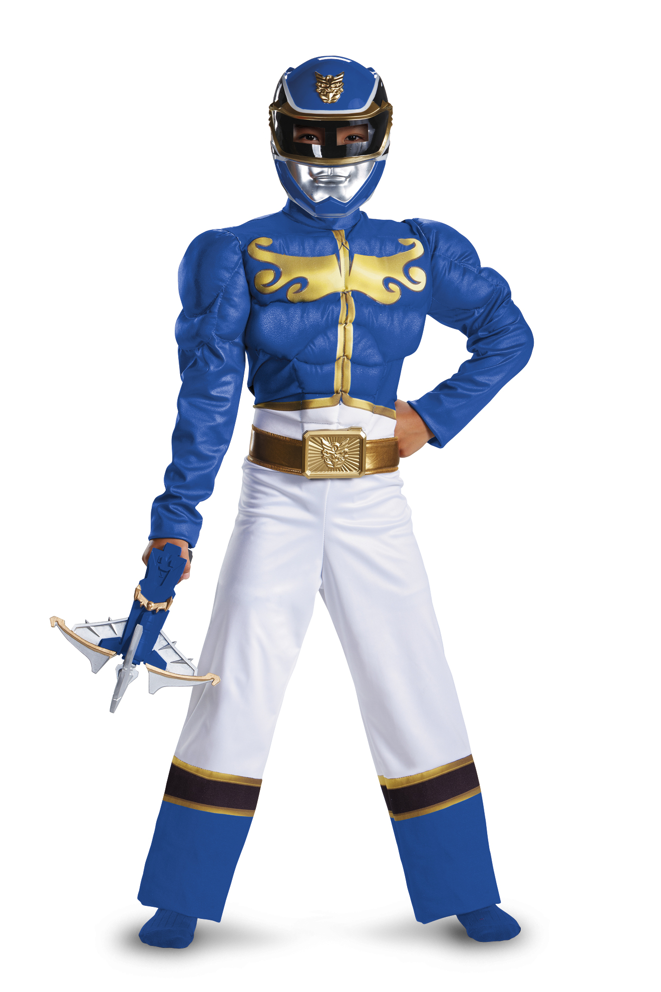 Power Rangers Blue Ranger Megaforce Muscle Chest Costume Child by Disguise