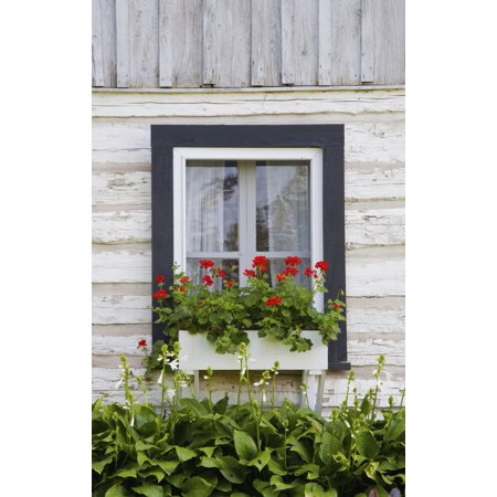 Log Home And Flower Box In The Window Iron Hill Quebec Canada (Wrought Iron Window Flower Boxes)