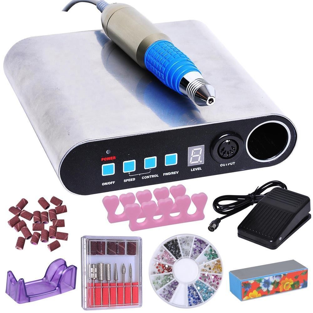 GHP LED Digital Display 30000 RPM Silver Manicure Pedicure Electric Nail Drill Kit