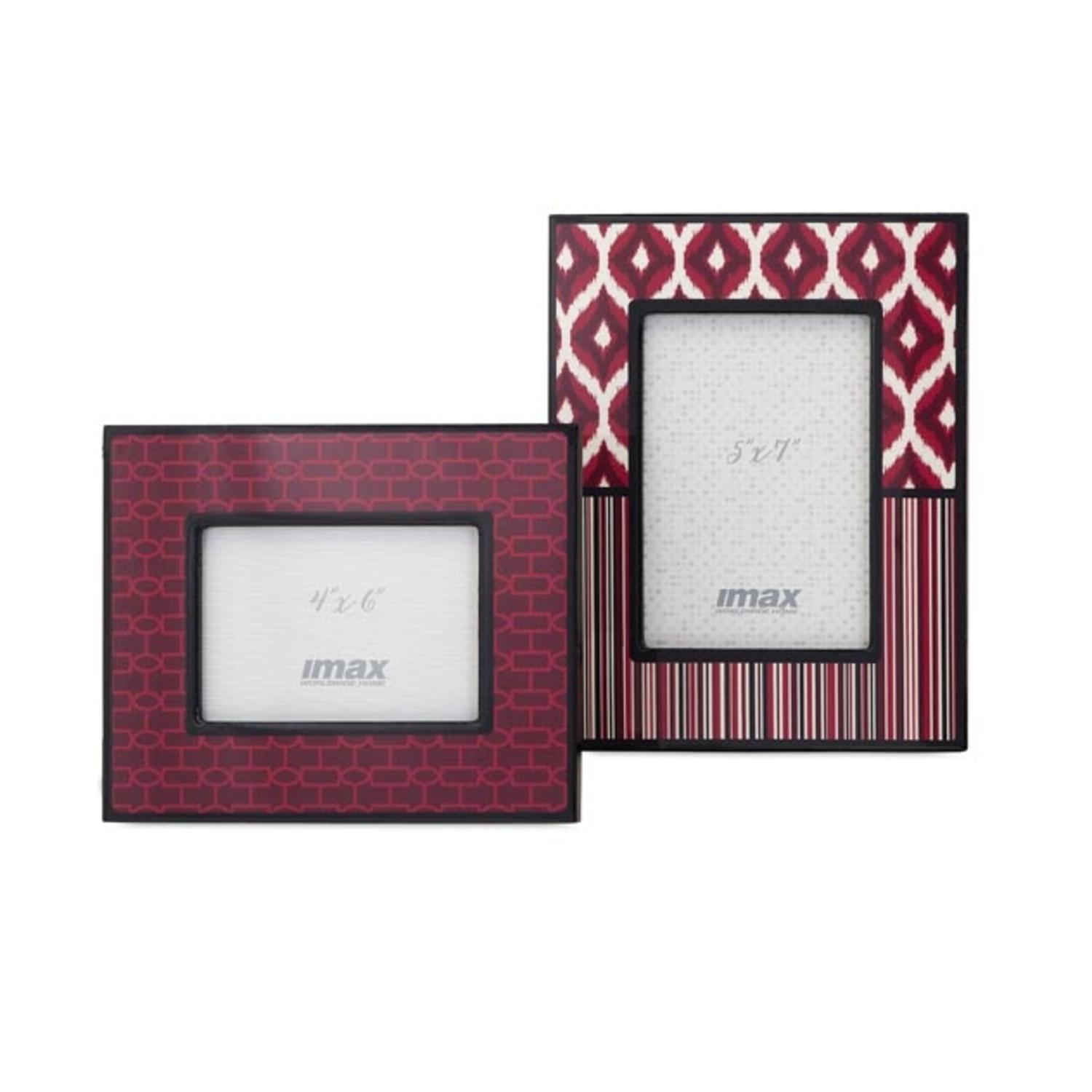 "Set of 2 Shades of Red and Magenta Pink Geometric Patterned Picture Photo Frames 5"" x 7"""