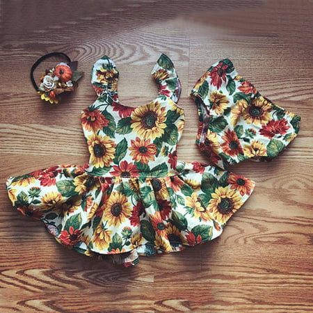Newborn Baby Girls Outfits Clothes Summer Sunflower Top Dress+Bottoms 2pcs Set (Desmond Miles Outfit)