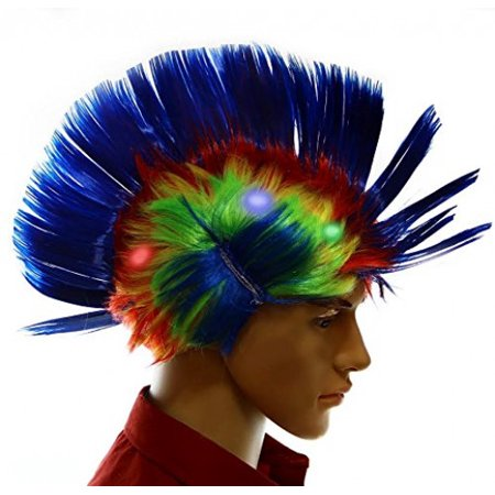 Dazzling Toys Wiggling Punk Blinking LED, Blue and Colored Wig. One per pack. (Blinking Toys)