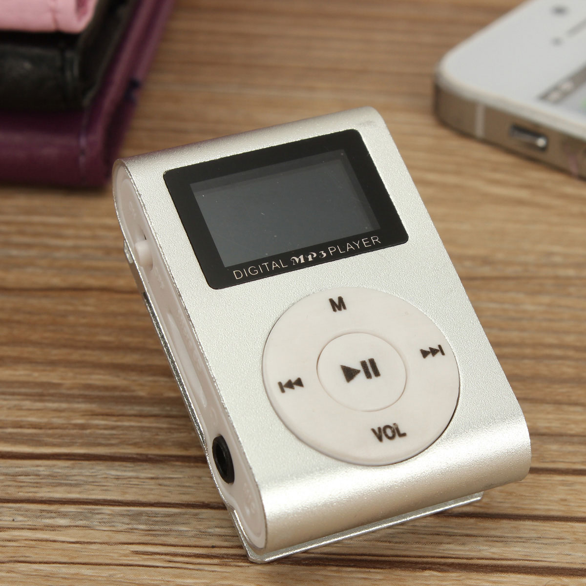 Mini MP3 Music Player LCD Screen Clip Metal Support 32GB TF Card Slot Rechargeable USB (No Memory Card)