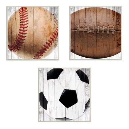 The Kids Room by Stupell Baseball Football Soccer Wood Planks 3pc Wall Plaque Art Set, 12 x 0.5 x 12